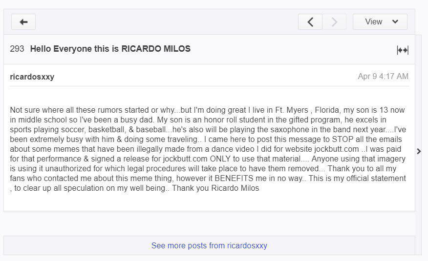 Рикардо Милос. Скриншот yahoo.com